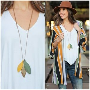 Mustard olive and gold feather pendant necklace